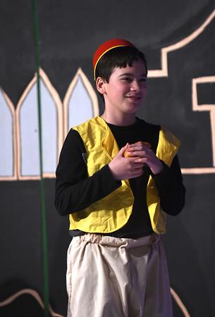 JIM VAIKNORAS/Staff photo Joshua Sauris as Aladdin during a rehearsal for Triton Regional Middle School production of Aladdin at Triton High School Saturday.