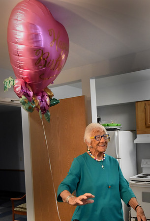BRYAN EATON/Staff Photo. West Newbury resident Florence Zuker, who turned 100 this weekend, talks about moving to town in 1955 and raising her family along with some tips for longevity.
