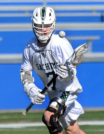 CARL RUSSO/staff photo. Pentucket's Josh Smith, keeps his eye on the ball in lacrosse action against Boston Latin.   The Pentucket boys lacrosse team is off to a great start, and Kevin Kershaw has played a big part in that success. The senior, who has never been a major contributor on the team before this season, has burst out with a team-high 22 goals through the team's first five games, including three games with six or more goals. 4/17/2019