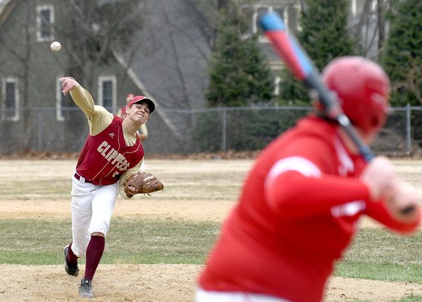 JIM VAIKNORAS/Staff photo Newburyport's Casey McLaren pitches against Amesbury at Pettingell Park in Newburyport Friday.