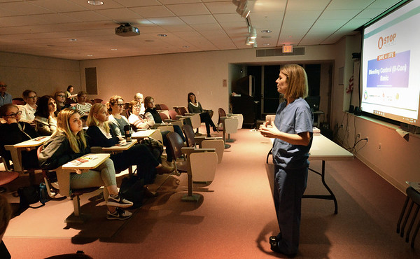 BRYAN EATON/Staff Photo.  Elizabeth Pahigian, RN MS, Lawrence General Hospital Trauma Program Manager, gives a power point presentation before hands on training.