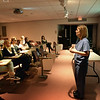 BRYAN EATON/Staff Photo.  Elizabeth Pahigian, RN MS, Lawrence General Hospital Trauma Program Manager, gives a power point presentation before hands on training.