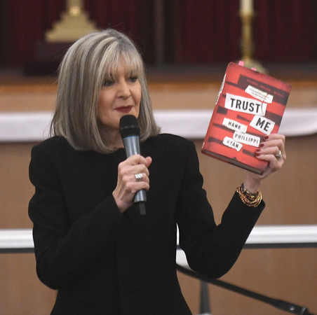 """JIM VAIKNORAS/Staff photo Hank Phillippi Ryan talks about her book """"Trust Me"""" at the Central Congregational Church during the annual Newburyport Literary Festival Saturday."""