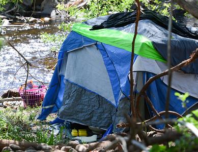 A tent is seen April 1 in Humboldt Park in Chico. (Matt Bates -- Enterprise-Record)