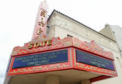 The marquee of the State Theatre shows names of local high school academic achievers Thursday in Oroville. Now through May 10 the marquee will be lit with the scrolling names of the 125 Scholastic Achievement Award recipients' names. (Matt Bates -- Enterprise-Record)