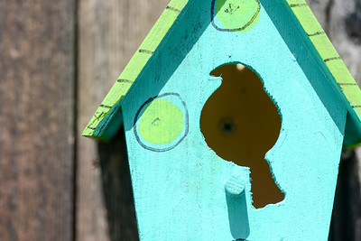 A handmade birdhouse is attached to a fence Tuesday on West Sacramento Avenue in Chico. (Matt Bates -- Enterprise-Record)