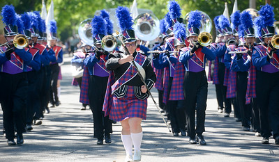 The Las Plumas/Oroville High band marches during the Feather Fiesta Days Parade in May 2019 in Oroville. (Matt Bates -- Enterprise-Record)