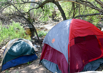 Tents are set up in Humboldt Park on April 1 in Chico. (Matt Bates -- Enterprise-Record)