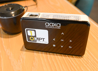 One of the portable projectors used by One Mobile Projector per Trainer director Matt York on Wednesday in Chico. (Matt Bates -- Enterprise-Record)