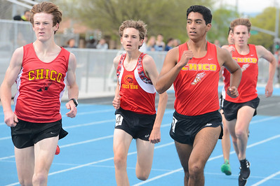 Chico High runners, from left to right, Rory Monninger, Mario Giannini and Alan Nava, compete in a track and field meet against Pleasant Valley on April 3, 2019, at Asgard Yard in Chico. Track and field is one of the CIF's sanctioned spring sports in the Northern Section. (Matt Bates -- Enterprise-Record File)
