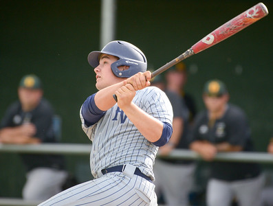 Pleasant Valley's Austin York takes a swing during the Northern Section championship game against Red Bluff on May 22, 2019, at Butte College in Butte Valley. (Matt Bates -- Enterprise-Record)
