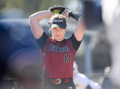 Chico State's Brooke Larsen winds up to pitch against Cal State Monterey Bay Saturday, Feb. 8 at University Softball Field in Chico. (Matt Bates -- Enterprise-Record File)
