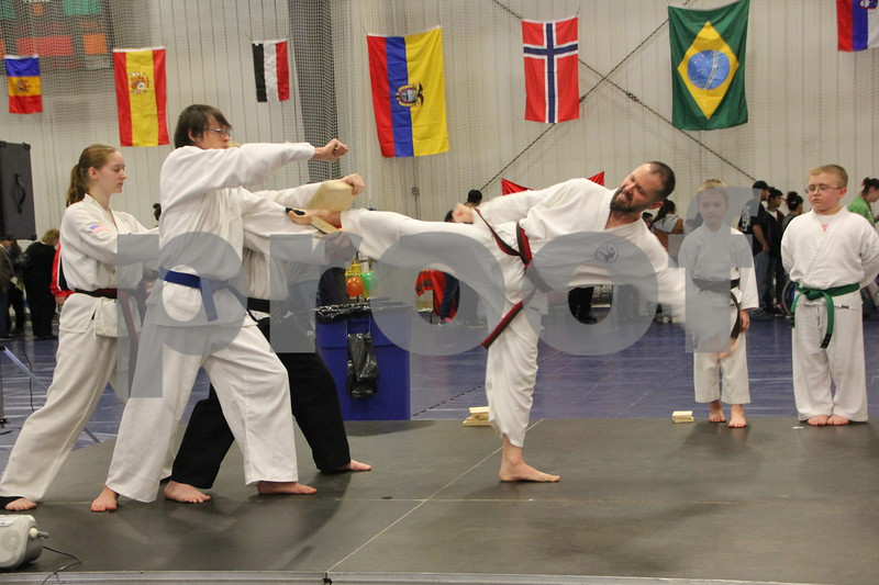 The Festival of Nations was held at the Iowa Central Community College campus in the Career Education building in Fort Dodge. The event took place on Sunday, April 3, 2016. Seen here is: Chad Moenck as he and other  Karate students demonstrated how to break boards and  several other techniques, at the event, dressed in costume . Almost every nation was represented with booths, food, dancing, or demonstrations of various skills. Present were also a few who were dressed in national costumes as well as seen here.