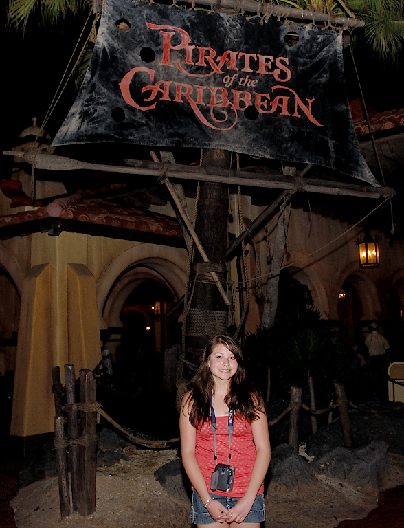 4/11/07 Emily in front of Pirates of the Carribean at Disney World
