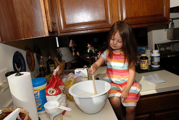 4/22/08 Mdaeline making waffle mix