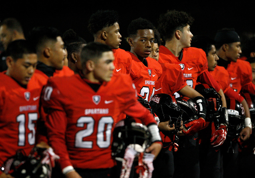 . Seaside gets ready for their game against Aptos in Seaside on Friday, Sept. 29, 2017.  (Vern Fisher - Monterey Herald)
