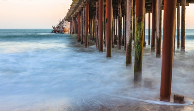 Seacliff Pier, Cement Ship with water blur
