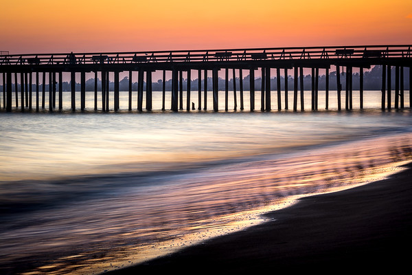 Seacliff Pier at Sunset with metallic reflections