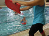 HOLLY PELCZYNSKI - BENNINGTON BANNER Sue Wirkki, of Arlington uses a kickboard during her Tibata interval training with the help of her instructor Andrea Malinowski on Friday morning during Aqua Fit class at the Bennington Rec Center.