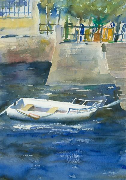 Weißes Ruderboot
