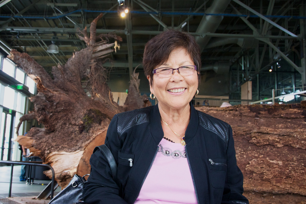 Mom with a giant redwood