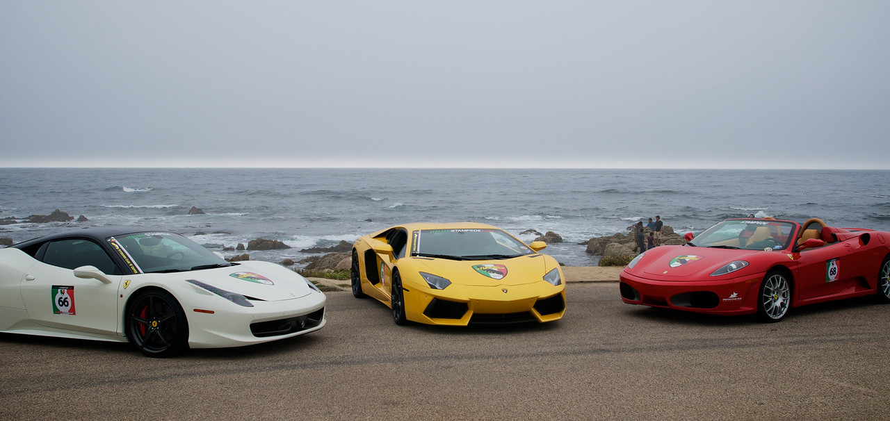 We caught up an exotic car club in pebble beach… people here have way too much money