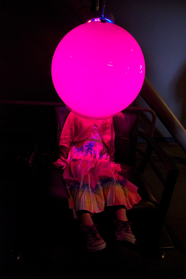 Our daughter encased in a glowing ball - all in the name of science