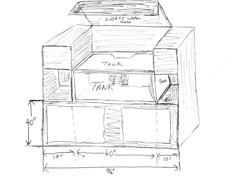 The original concept and sketch for the 150gallon stand.