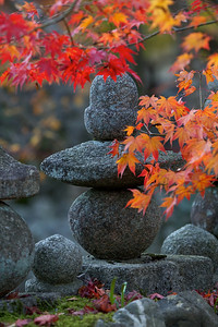 Stone Lanterns at Adashino Nenbutsu-ji Temple  Graveyard with Autumn Foliage, Arashiyama, Kyoto