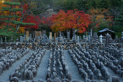 Countless Stone Statues at Adashino Nenbutsu-ji Temple  Cementery in Arashiyama/Kyoto with Autumn Foliage
