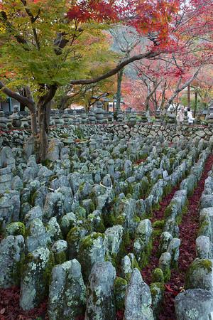 Countless Stone Statues at Adashino Nenbutsu-ji Temple Graveyard  Moss-covered with Autumn Foliage