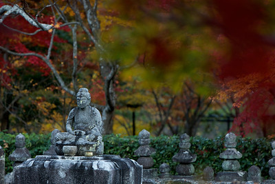 Buddha Stone Statue at Adashino Nenbutsu-ji Temple, Selective Focus  Cementary in Arashiyama/Kyoto with Maple Foliage in Autumn