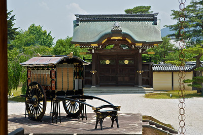 Imperial Entrance at Daikaku-ji Temple  Decorated with elegant ancient Carriage in Foreground