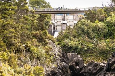 View of the Bridge and Aratiatia Dam when it is closed