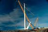 Nordkraft Vind AS, anlegg på Skitdalshøgda. Nygårdsfjell vindpark, trinn 1. Montasje av vinger på turbinen.