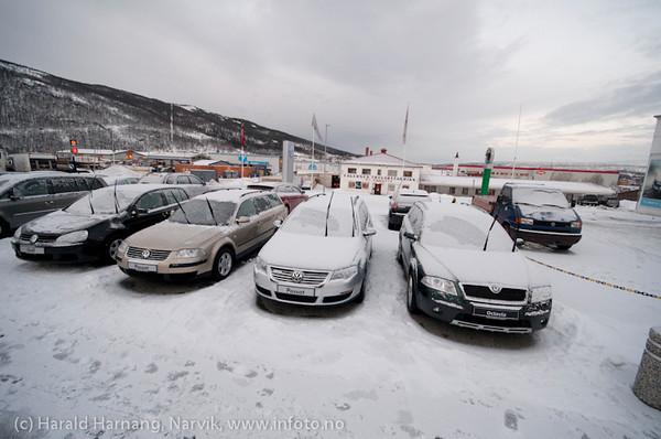 Dokumentarfoto hos Svebjørn Auto på Fagernes i Narvik 2. feb 2011. VW og Skoda.