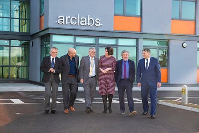 15/11/2019. FREE TO USE IMAGE. Pictured at the The official opening of the ArcLabs Research & Innovation Centre WIT extension, at Carriganore, Co Waterford. Pictured are Professor Willie Donnelly, President at Waterford Institute of Technology (WIT), Mark White Vice-President for Research, Innovation & Graduate Studies WIT,  Cllr. John Pratt, Mayor of the City and County of Waterford, Dr Aisling O'Neill, Manager at ArcLabs, John Halligan TD, Minister for Training, Skills, Innovation, Research and Development and Martin Corkery  Regional Director, Enterprise Ireland. Picture: Patrick Browne