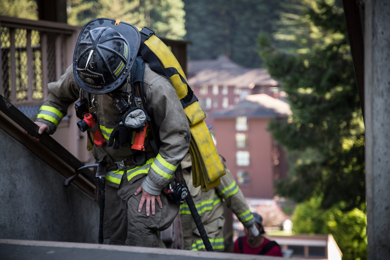On Monday, firefighters from the Arcata Fire District walked up 110 flights of stairs, some with full gear, to honor the firefighters who died responding to the terror attacks of Sept. 11, 2001. (Sam Armanino - Times-Standard)