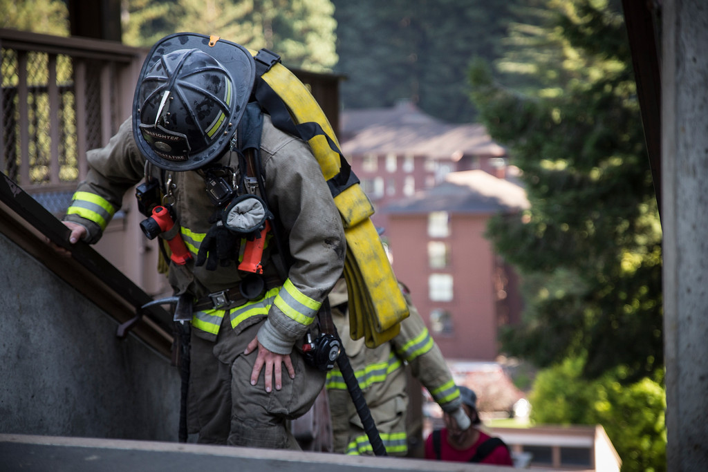 . On Monday, firefighters from the Arcata Fire District walked up 110 flights of stairs, some with full gear, to honor the firefighters who died responding to the terror attacks of Sept. 11, 2001. (Sam Armanino - Times-Standard)