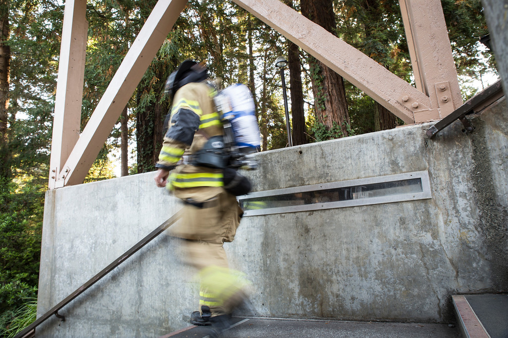 . With a full pack of gear, firefighters were weighed  about 75 to 100 pounds. Battalion Chief Sean Campbell said this was the first time they have done this climb. (Sam Armanino - Times-Standard)