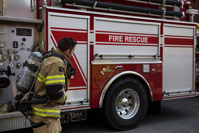 Jon Busher, an Arcata firefighter, gets ready to begin his climb which would last over an hour carrying a tank and wearing full fire gear.  (Sam Armanino - Times-Standard)