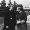 Archabbot Timothy Sweeney, left, with Archbishop Jean Jadot.