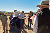 Dr. Maxwell explaining the layout of the Sapawe Pueblo, an Ancestral Puebloan site (c. 1,350-1,550 C.E.). It is the largest of its type (1,000 by 1,350 ft) in the American Southwest and is considered to be an ancestral site by the Tewa people.