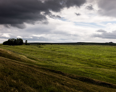 Hadrian's Wall. The Vallum - earthworks running to the south -  near Cawfields.