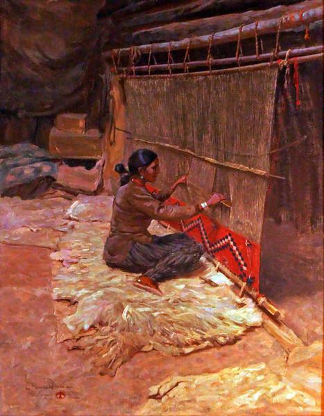 Navajo weaver painting.