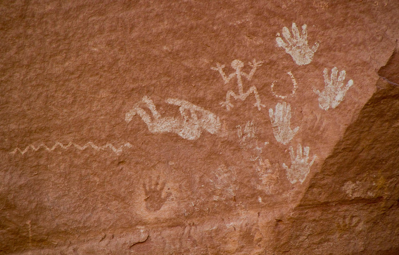 The next several images are pictographs (painted on the rock) or petroglyphs (chipped into the rock). Kokopeli, the hump-backed flute player appears lying on his back.