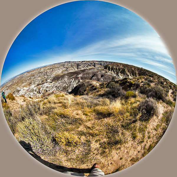 """""""Fisheye"""" view looking toward the East from  Angel Peak overlook."""