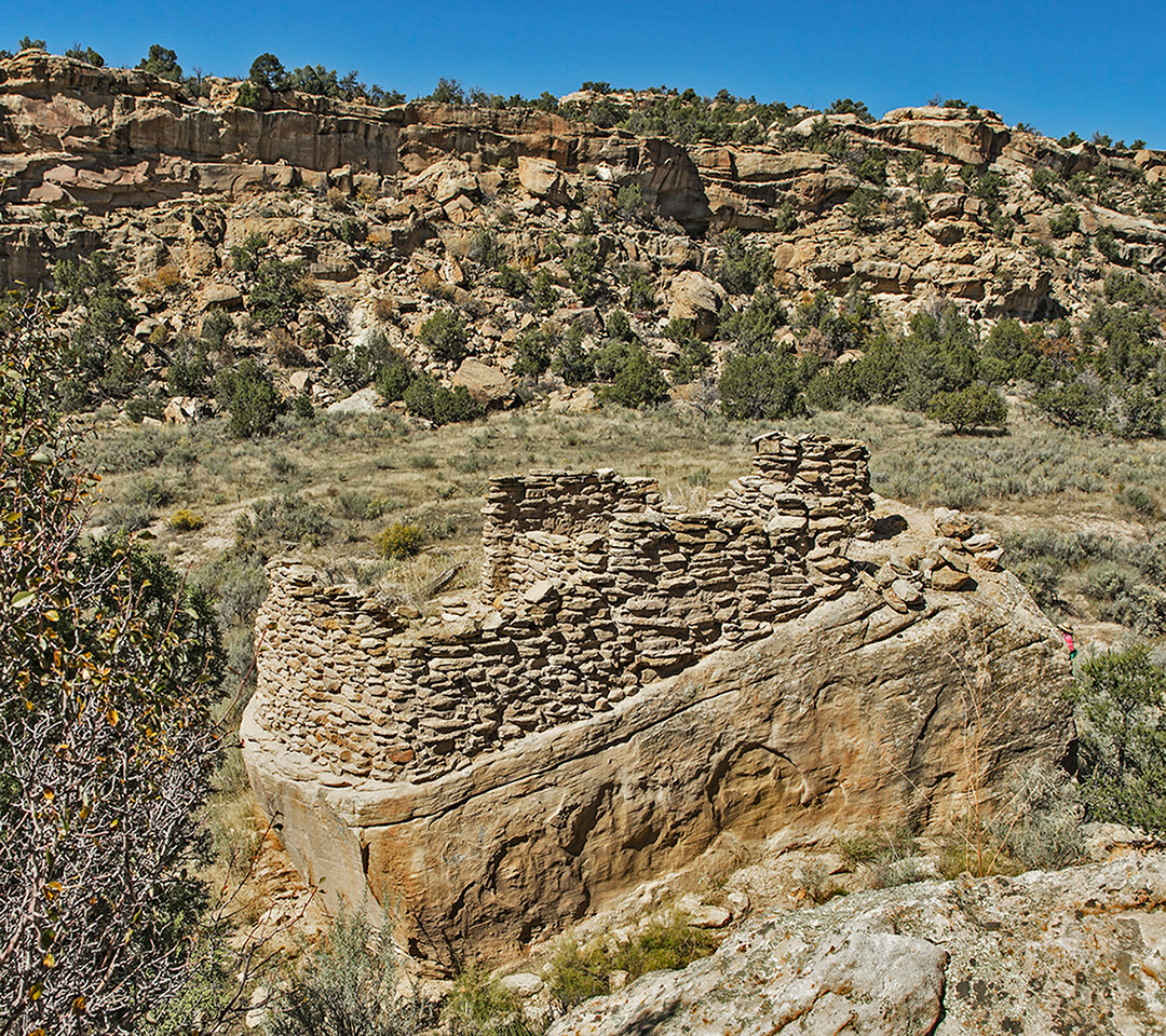 "In the beginning of the 18th century the Diné built ""pueblitos"" like the one seen here. They served as defensive structures against Ute-Comanche raids and post-Pueblo Revolt retaliatory raids by the Spanish."