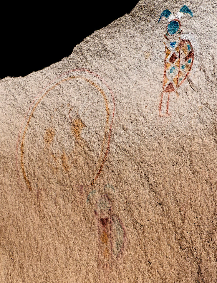 This pictograph is in Hummingbird Canyon so the figure probably represents a hummingbird. The ellipse encircles a deer and some other figure. Below it is a faded hummingbird.