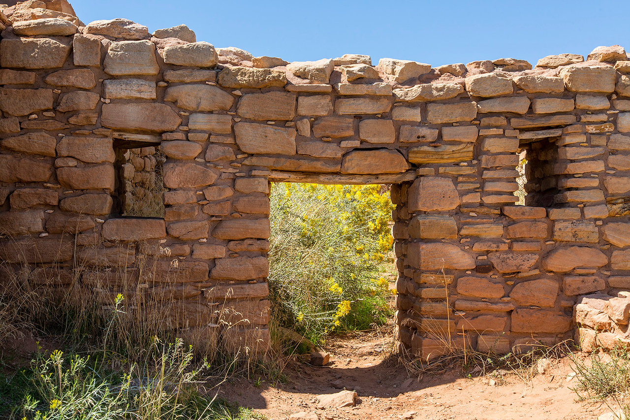 """Doorway into what was once a room adjacent to the structure containing """"Kiva B,"""" the Painted Kiva."""